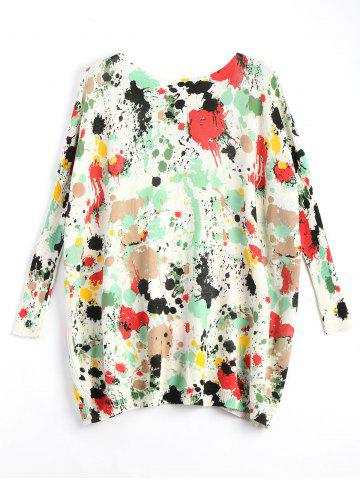 Online Plus Size Splash Painting Knitted Tunic Sweater - ONE SIZE GREEN Mobile