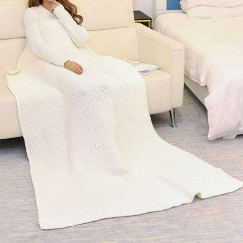 Handmade Knitted Bedding Sofa Blanket Throw - White - 110*160cm