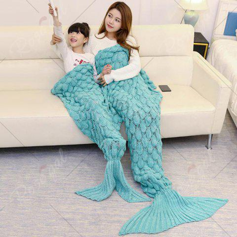Buy Fish Scale Knitted Parent-child Mermaid Blanket - 180*145CM GREEN Mobile