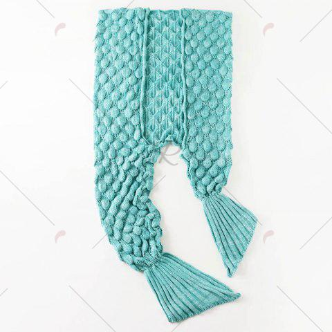 Shops Fish Scale Knitted Parent-child Mermaid Blanket - 180*145CM GREEN Mobile