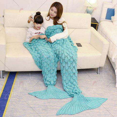 Hot Fish Scale Knitted Parent-child Mermaid Blanket - 180*145CM GREEN Mobile