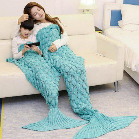 Discount Fish Scale Knitted Parent-child Mermaid Blanket - 180*145CM GREEN Mobile