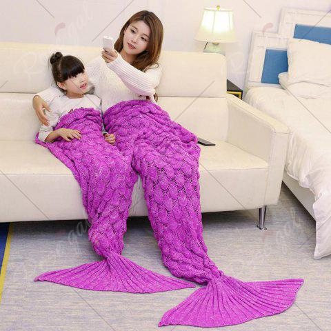 Hot Fish Scale Knitted Parent-child Mermaid Blanket - 180*145CM ROSE MADDER Mobile