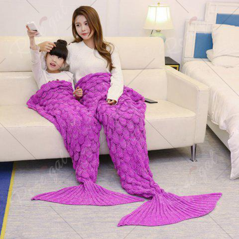 Fashion Fish Scale Knitted Parent-child Mermaid Blanket - 180*145CM ROSE MADDER Mobile