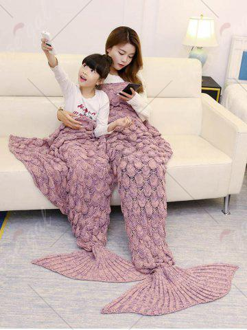 Fashion Fish Scale Knitted Parent-child Mermaid Blanket - 180*145CM PINK Mobile