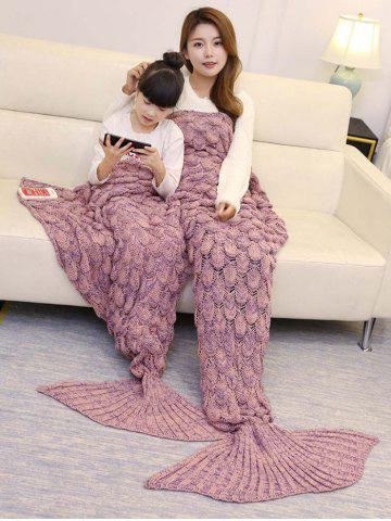 Hot Fish Scale Knitted Parent-child Mermaid Blanket - 180*145CM PINK Mobile