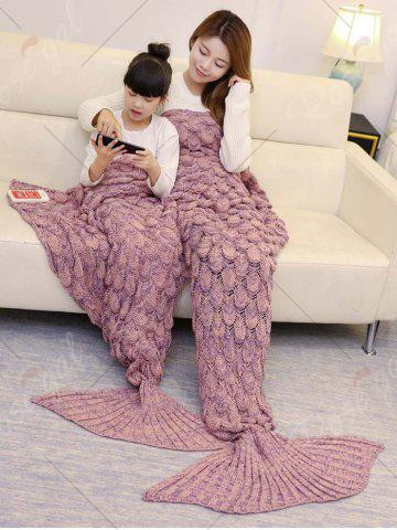 Shops Fish Scale Knitted Parent-child Mermaid Blanket - 180*145CM PINK Mobile