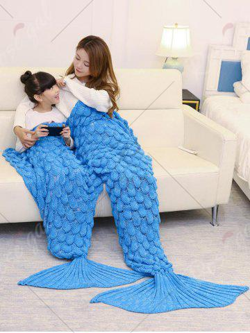 Sale Fish Scale Knitted Parent-child Mermaid Blanket - 180*145CM BLUE Mobile