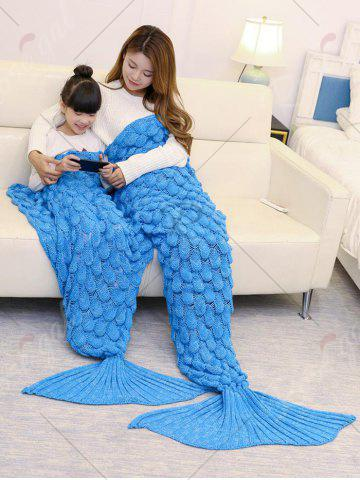 Chic Fish Scale Knitted Parent-child Mermaid Blanket - 180*145CM BLUE Mobile