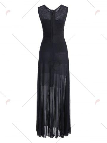 Store Sheer Mesh Panel Maxi Bandage Dress - S BLACK Mobile
