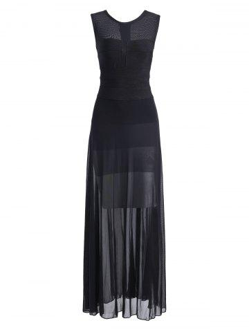 Chic Sheer Mesh Panel Maxi Bandage Dress - S BLACK Mobile