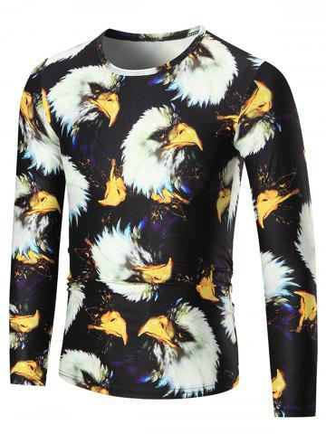 Hot 3D Eagle Print Long Sleeve T-shirt - 3XL COLORMIX Mobile