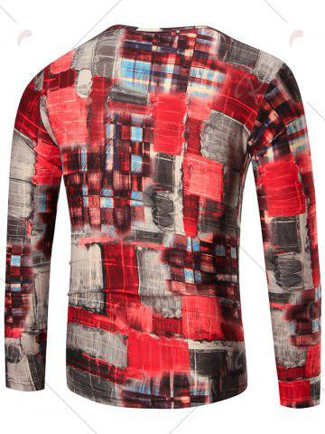 Outfits Color Block Long Sleeve T-shirt - XL COLORMIX Mobile