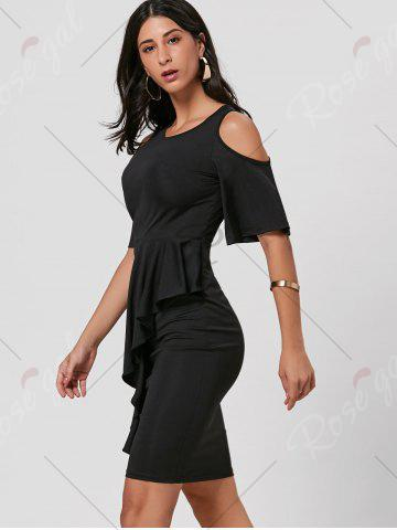 Store Cold Shoulder Peplum Bodycon Dress - S BLACK Mobile