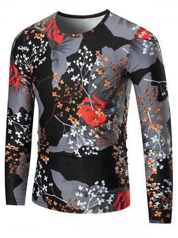 New Color Block Rose Print Long Sleeve T-shirt - 2XL COLORMIX Mobile