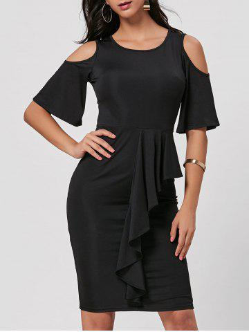 Shop Cold Shoulder Peplum Bodycon Dress BLACK 2XL