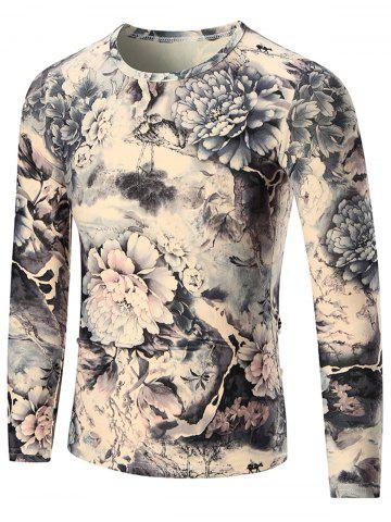 Fancy Peony Print Long Sleeve T-shirt - 2XL COLORMIX Mobile