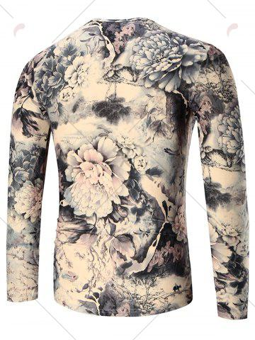 Trendy Peony Print Long Sleeve T-shirt - 2XL COLORMIX Mobile