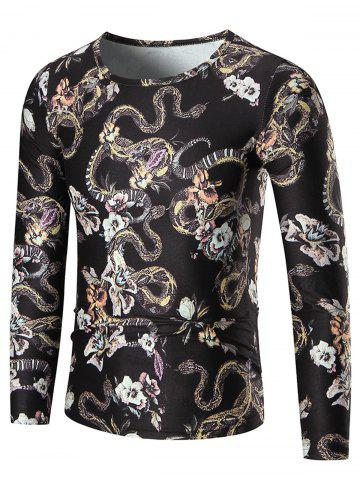Chic Allover Python Print Long Sleeve T-shirt - XL COLORMIX Mobile