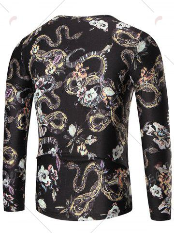 Discount Allover Python Print Long Sleeve T-shirt - XL COLORMIX Mobile