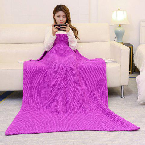 Discount Handmade Knitted Bedding Sofa Blanket Throw ROSE MADDER 110*160CM