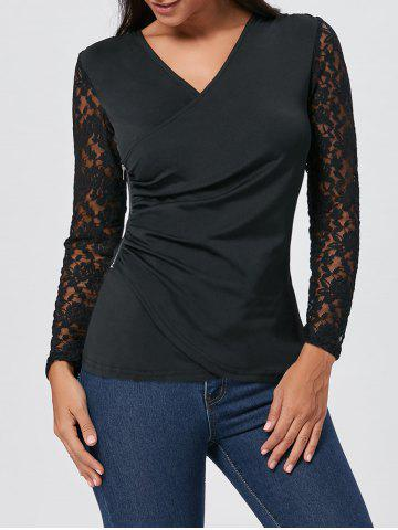 Sale Asymmetrical Zipper Draped Lace Insert T-shirt BLACK L
