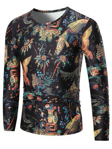 Cheap Phoenix Print Long Sleeve T-shirt COLORMIX XL