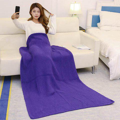Chic Handmade Knitted Bedding Sofa Blanket Throw - PURPLE 110*160CM Mobile