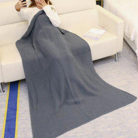 Fashion Handmade Knitted Bedding Sofa Blanket Throw - 80*96CM GRAY Mobile