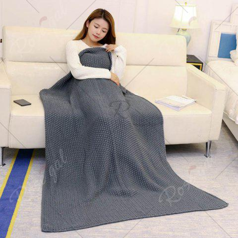 Outfit Handmade Knitted Bedding Sofa Blanket Throw - 80*96CM GRAY Mobile