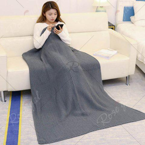 Unique Handmade Knitted Bedding Sofa Blanket Throw - GRAY 110*160CM Mobile