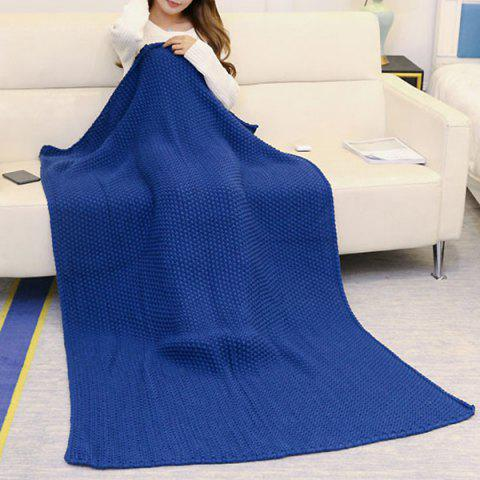 Shop Handmade Knitted Bedding Sofa Blanket Throw - 80*96CM CADETBLUE Mobile