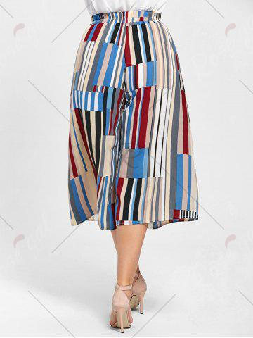 Store Geometric Print Plus Size Palazzo Capri Pants - 2XL MULTICOLOR Mobile