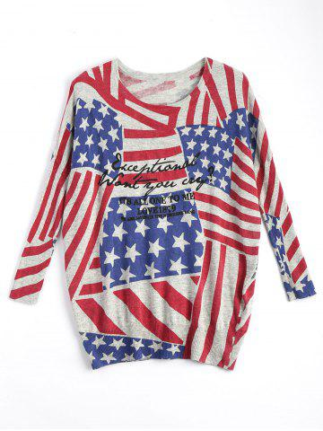 Shop American Flag Knit Patriotic Plus Size Sweater RED ONE SIZE