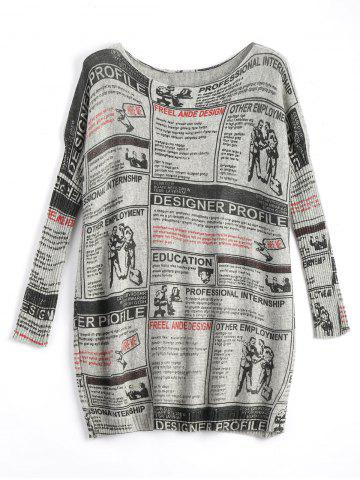 Fashion Plus Size Newspaper Printed Vintage Long Sweater LIGHT GRAY ONE SIZE