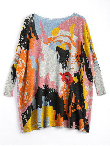 Fancy Funny Graphic Plus Size Long Sweater - ONE SIZE LIGHT GRAY Mobile