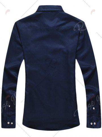 Store Long Sleeve Button Down Embroidery Shirt - 3XL PURPLISH BLUE Mobile