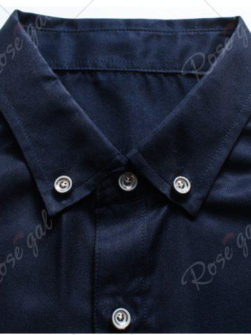 Buy Long Sleeve Button Down Embroidery Shirt - 3XL PURPLISH BLUE Mobile