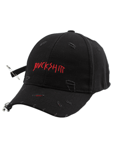 Buy Safety Pin Circle Letters Broken Hole Baseball Hat - BLACK  Mobile