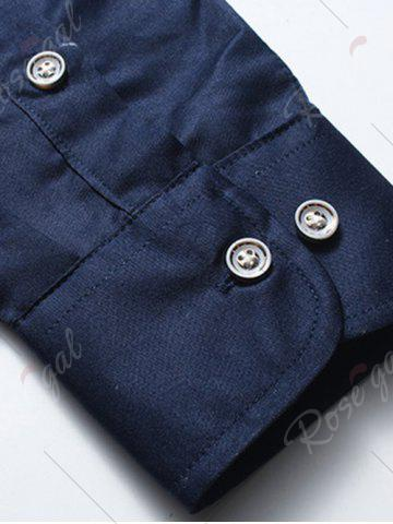 Chic Long Sleeve Button Down Embroidery Shirt - 5XL BLUE Mobile