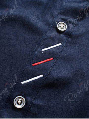 Buy Long Sleeve Button Down Embroidery Shirt - 5XL BLUE Mobile