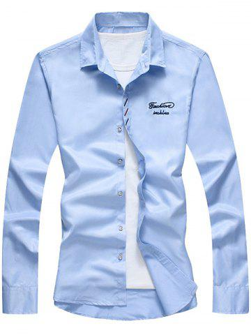 Fancy Long Sleeve Button Down Embroidery Shirt