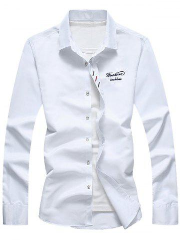 Affordable Long Sleeve Button Down Embroidery Shirt - 5XL WHITE Mobile