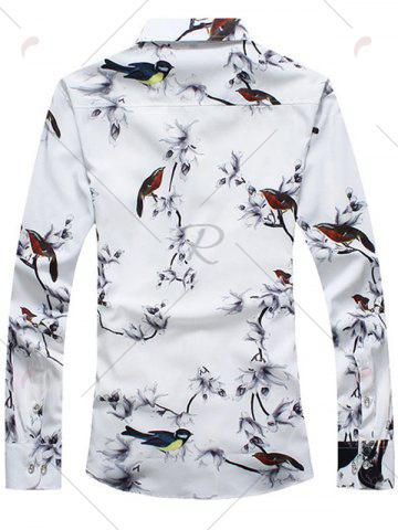 Affordable Retro Bird and Flower Print Shirt - L WHITE Mobile