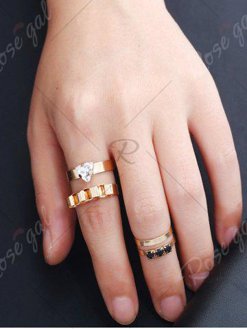 Outfit Rhinestone Alloy Triangle Cuff Ring Set - GOLDEN  Mobile
