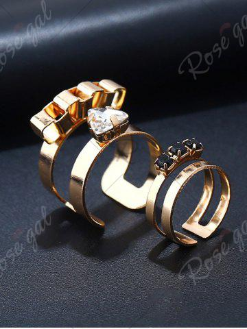 Buy Rhinestone Alloy Triangle Cuff Ring Set - GOLDEN  Mobile