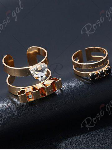 Store Rhinestone Alloy Triangle Cuff Ring Set - GOLDEN  Mobile
