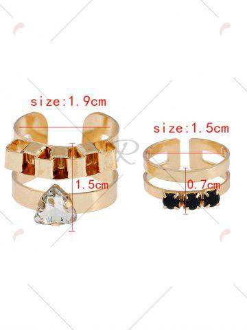 Best Rhinestone Alloy Triangle Cuff Ring Set - GOLDEN  Mobile