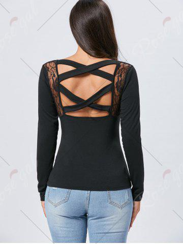 Latest Lace Insert Long Sleeve Cross Back Tee - S BLACK Mobile