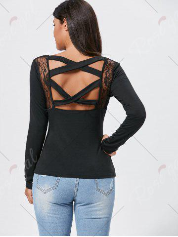 Affordable Lace Insert Long Sleeve Cross Back Tee - M BLACK Mobile